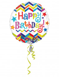 Ballon aluminium chevron Happy Birthday