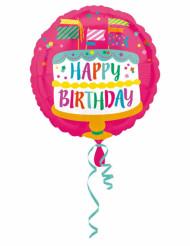 Ballon aluminium gâteau Happy Birthday