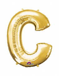 Ballon aluminium Lettre C doré 33 cm