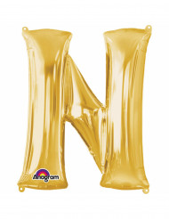 Ballon aluminium Lettre N doré 33 cm