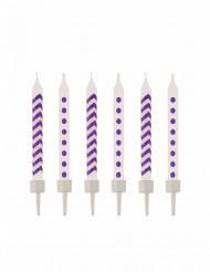 10 Bougies d'anniversaire violettes
