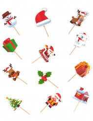 12 Décorations pour desserts de Noël