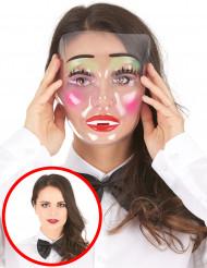 Masque transparent femme maquillée
