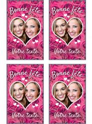 9 Vignettes en sucre personnalisables pour biscuits Roses