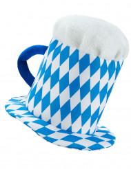 Chapeau pinte de bière en bleu et blanc adulte