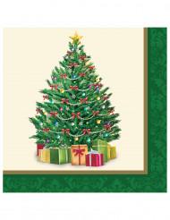 16 Serviettes en papier Sapin de Noël 33 cm