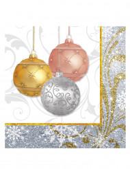 16 Serviettes en papier Paillettes de Noël