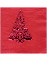 16 Serviettes en papier Sapin rouge 33 x 33 cm