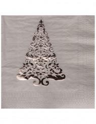 16 Serviettes en papier Sapin argent 33 x 33 cm
