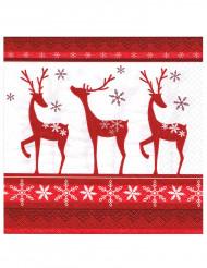 20 Serviettes en papier cerfs de Noël 33 x 33 cm