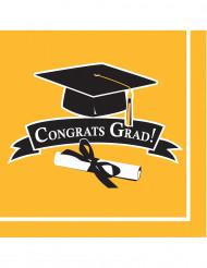 36 Serviettes jaunes Congrats Grad