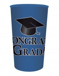 Gobelet en plastique bleu Congrats Grad