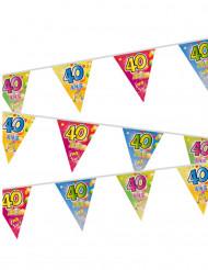 Guirlande 20 fanions plastifiés 40 ans Fiesta 7 m