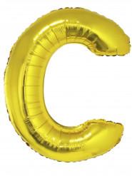 Ballon aluminium géant lettre C doré 1m