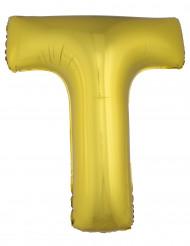 Ballon aluminium géant lettre T doré 1m
