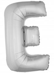 Ballon aluminium géant lettre E argenté 1m