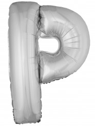 Ballon aluminium géant lettre P argenté 1m