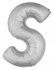 Ballon aluminium géant lettre S argenté 1m