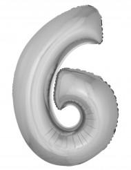 Ballon aluminium géant chiffre 6 argenté 1m