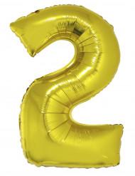 Ballon aluminium géant chiffre 2 doré 1m