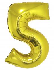 Ballon aluminium géant chiffre 5 doré 1m