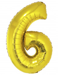 Ballon aluminium géant chiffre 6 doré 1m