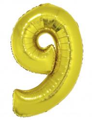 Ballon aluminium géant chiffre 9 doré 1m