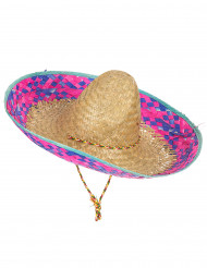 Sombrero Mexicain bordure rose et bleu adulte