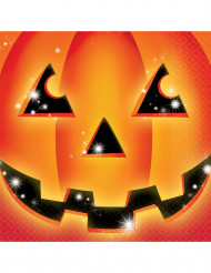 16 Serviettes en papier citrouille Halloween
