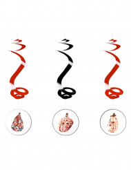 3 Suspensions spirale horreur halloween 60cm