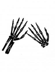 6 Mains squelette noir avec craie halloween
