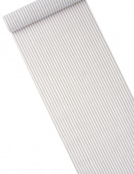 Chemin de table lin rayé taupe et blanc 28 cm x 5 mètres