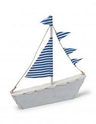 Décoration bâteau bleu en bois Marin 18 x 20 cm