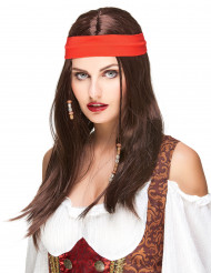 Perruque pirate ou hippie avec bandana adulte
