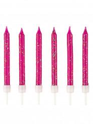 12 Bougies d'anniversaire rose fuchsia à paillettes