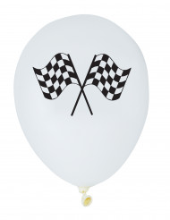 6 Ballons blancs en latex Racing  30 cm