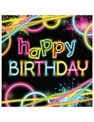 16 serviettes en papier Happy birthday Fluo Party