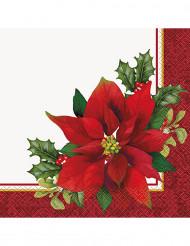 16 Serviettes en papier Fleurs de Noël 33 x 33 cm