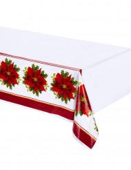 Nappe en plastique Fleurs de Noël 137 x 213 cm