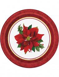 8 Petites assiettes en carton Fleurs de Noël 18 cm