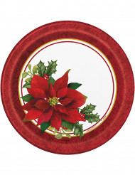 8 Assiettes en carton Fleurs de Noël 23 cm