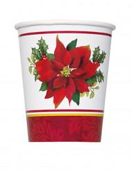 8 Gobelets en carton fleurs de Noël