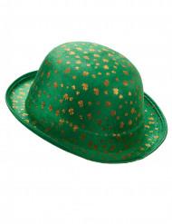 Chapeau melon vert St Patrick velours avec trèfles dorés adulte