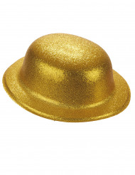 Chapeau melon plastique pailleté doré adulte