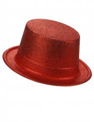 Chapeau haut de forme plastique pailleté rouge adulte