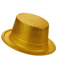 Chapeau haut de forme plastique pailleté or adulte