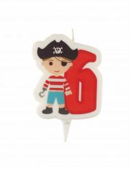 Bougie d'anniversaire pirate chiffre 6