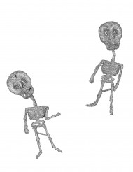 2 Squelettes argent à paillettes 18,5 cm