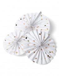 3 Rosaces blanches à pois dorés 30, 25, 20 cm