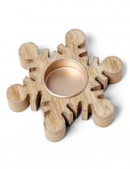 Bougeoir flocon en bois et paillettes cuivrées 11.5 cm